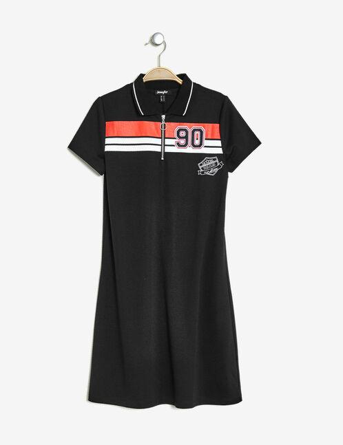 robe trapèze zippée noire