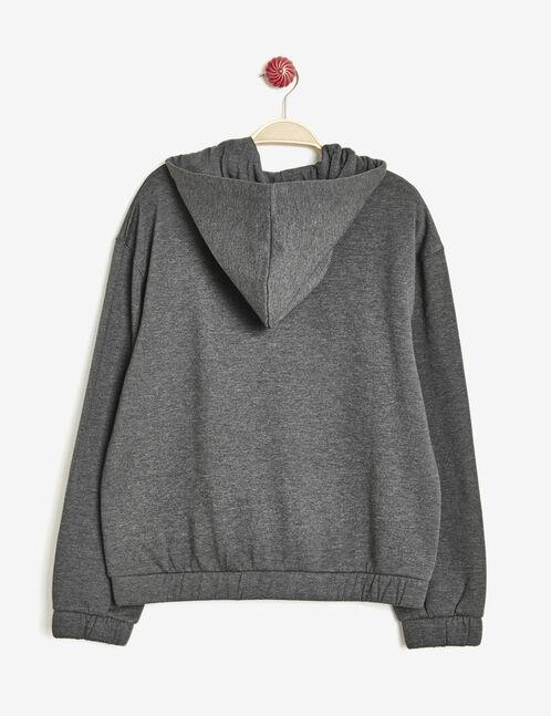 sweat à capuche imprimé gris anthracite chiné