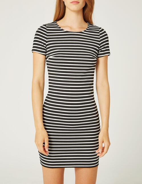 robe ajustée rayée blanche et noire