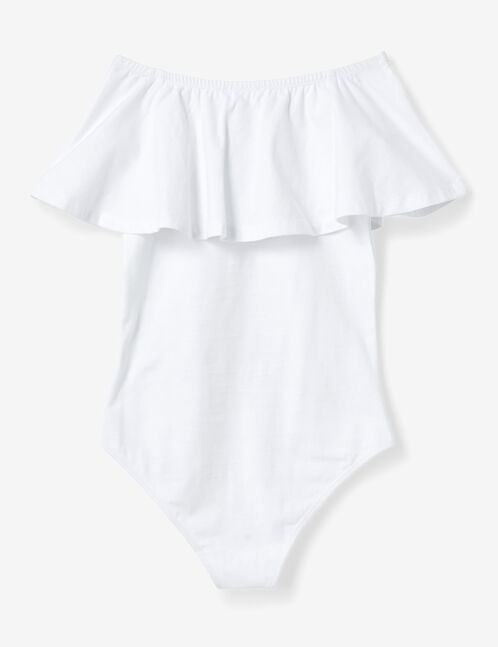 White bodysuit with frill detail