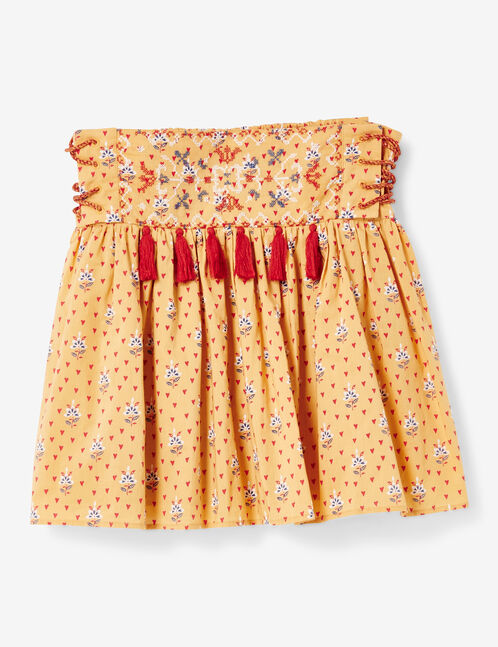 Ochre flared skirt with lacing detail