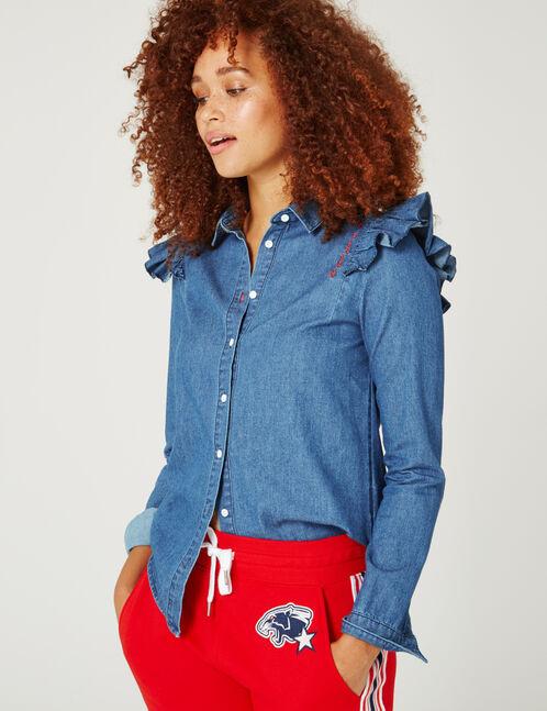 chemise en jean à messages brut