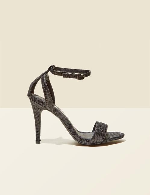 sandales pailletées à talons noires