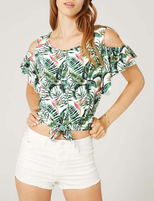 tee-shirt tropical écru