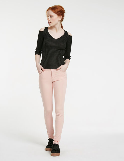 Nude skinny push-up trousers