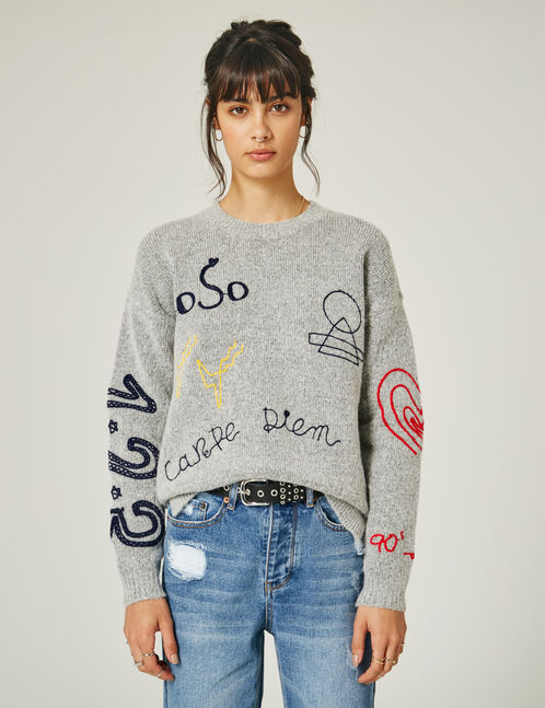 Grey marl embroidered text design jumper