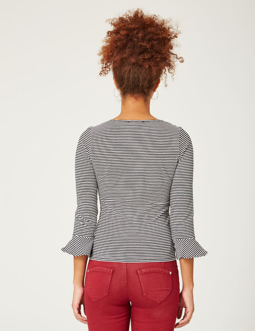 Black and white striped top with pagoda sleeves