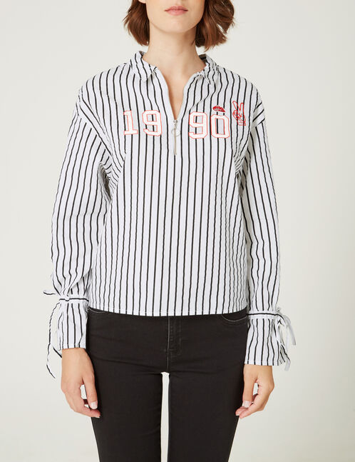Black and white striped shirt with zip detail