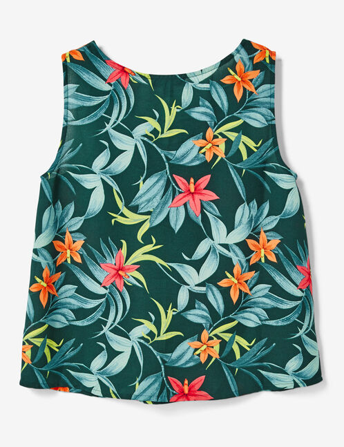 Green tropical blouse with lacing detail