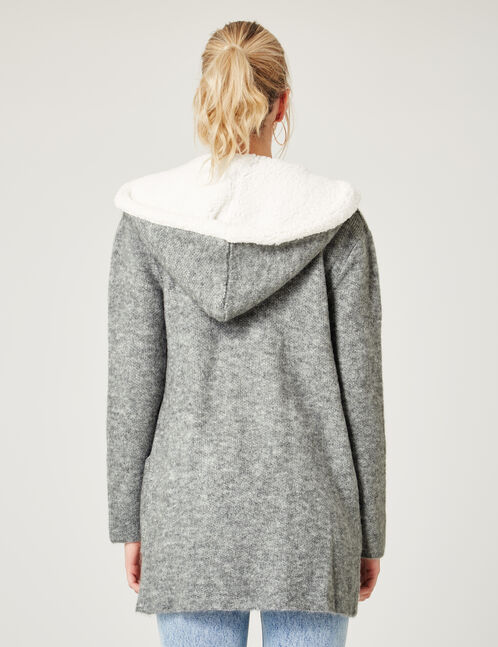 Long grey marl hooded cardigan
