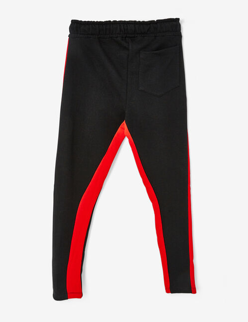 Black and red two-tone joggers