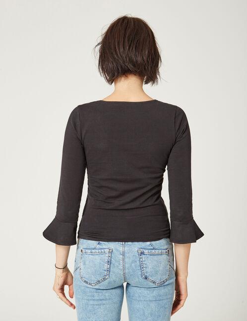 tee-shirt manches pagodes noir