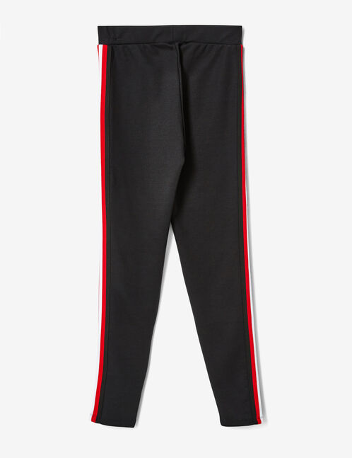 Black, red and white leggings with side stripe detail