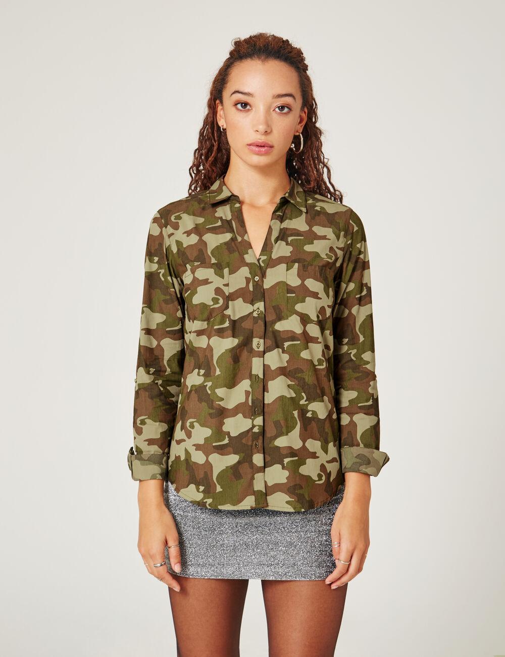 chemise camouflage cintr kaki femme jennyfer. Black Bedroom Furniture Sets. Home Design Ideas