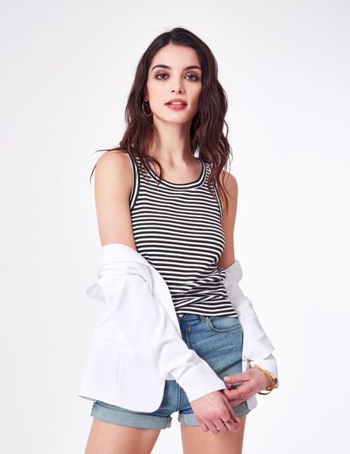 Basic white and black striped tank top