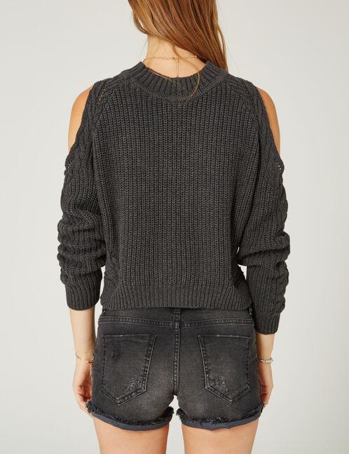 Charcoal grey marl cold shoulder jumper