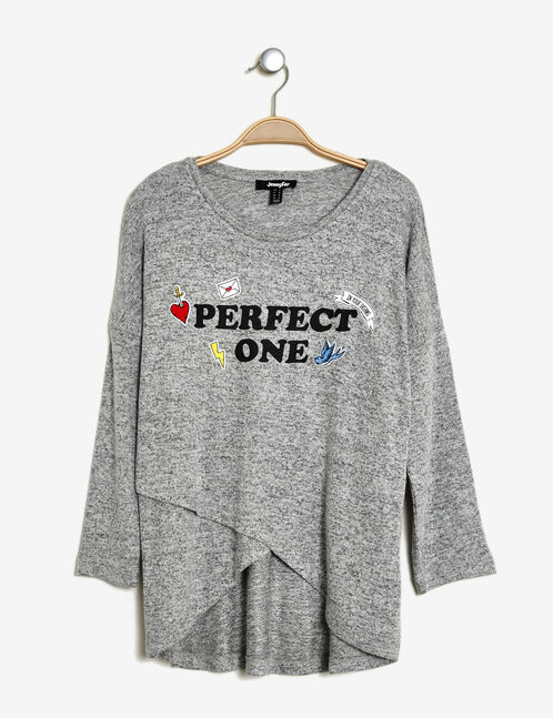 tee-shirt mix d'imprimés  gris chiné