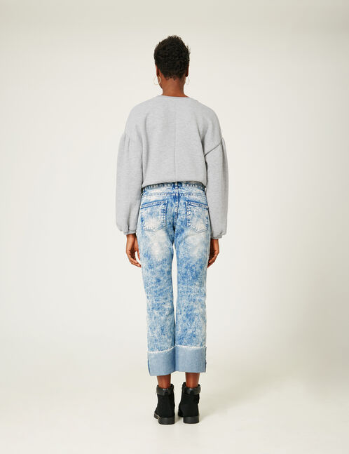 Bleached straight-leg jeans with turn-up hems