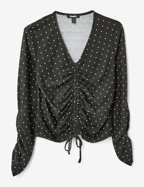 Black and white polka-dot t-shirt with ruched detail