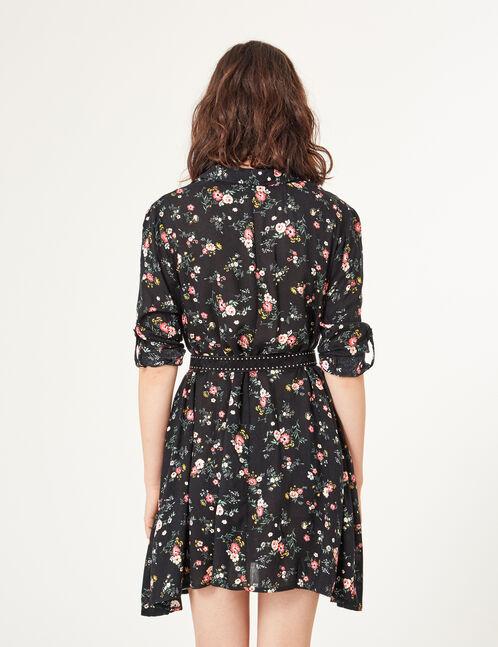 robe chemise évasée noire