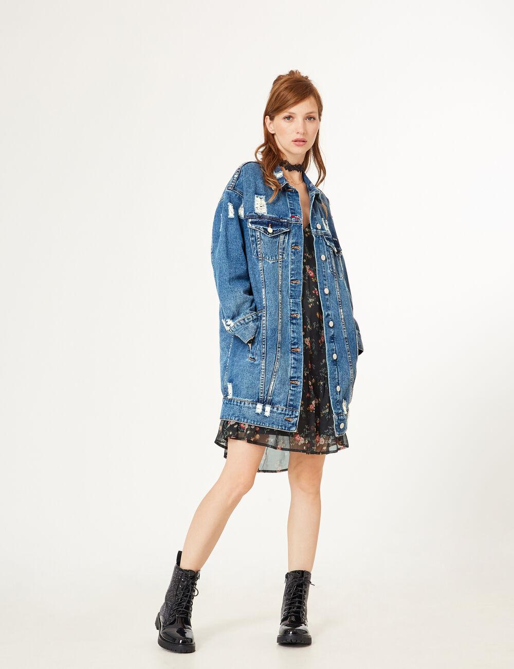 Blouson en jean femme large