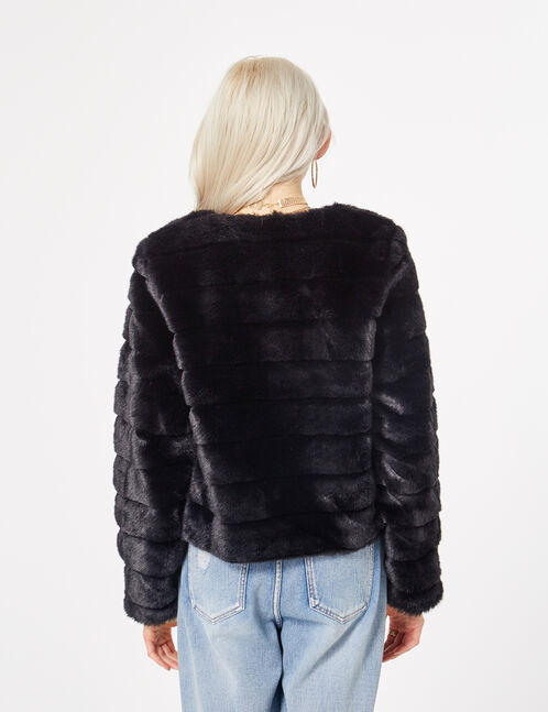 veste imitation fourrure noire femme jennyfer