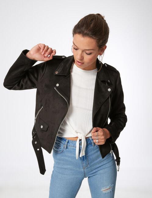 veste biker avec ceinture noire