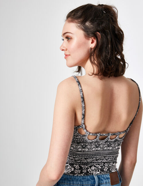 Black and cream floral print bodysuit