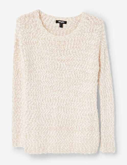 Pink and cream popcorn knit and lurex jumper