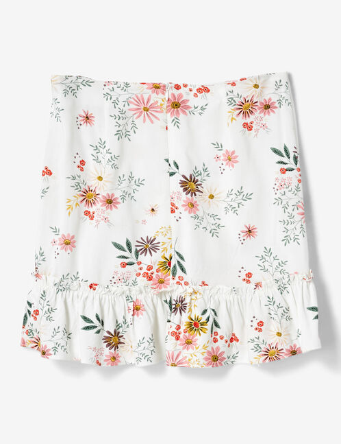 Cream floral skirt with frill detail