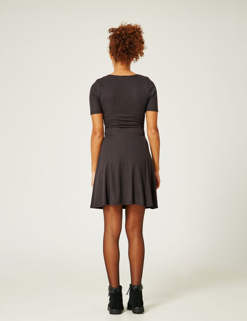Black deep-V dress with tie detail