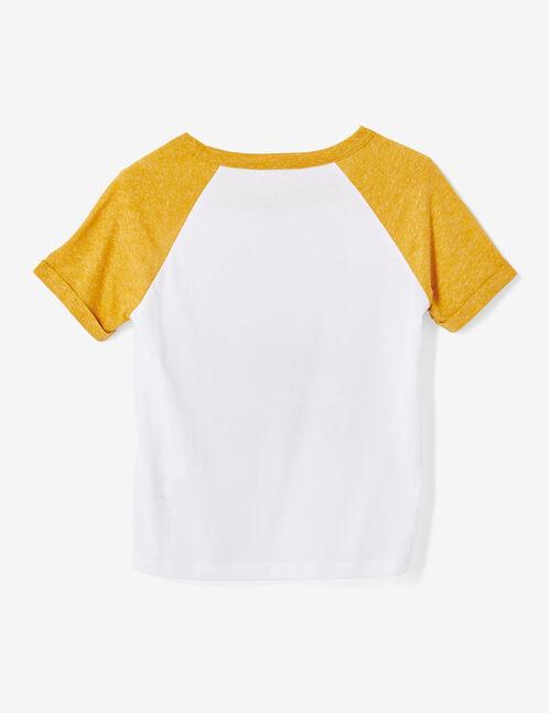 tee-shirt bicolore à message blanc et ocre chiné
