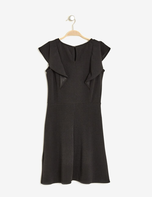 Black flared dress with frill detail