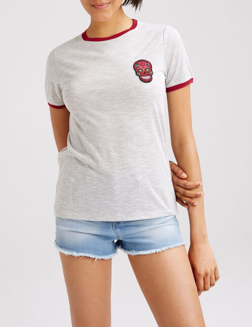 Grey marl and burgundy two-tone T-shirt with patch