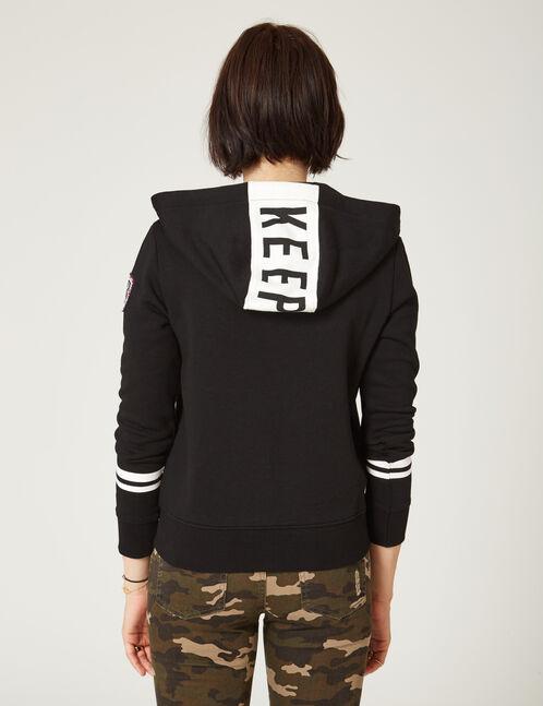 """Black """"keep track"""" zipped hoodie"""