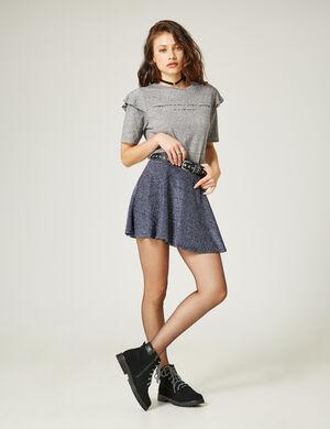 jupe patineuse avec lurex bleue et argentée