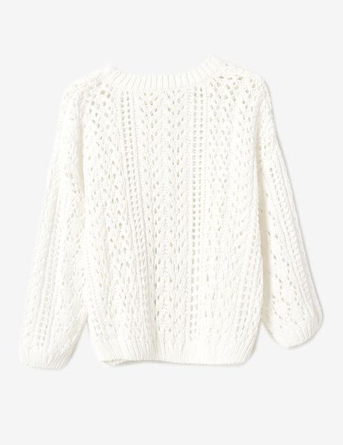 pull chenille ajouré blanc