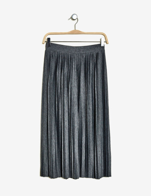 Charcoal grey marl pleated maxi skirt