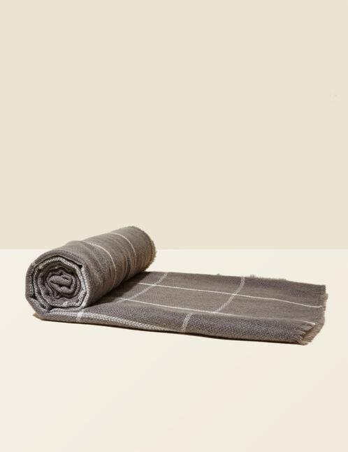 Grey marl and cream plaid scarf