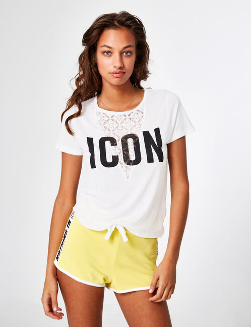 "Cream ""icon"" T-shirt with lace detail"