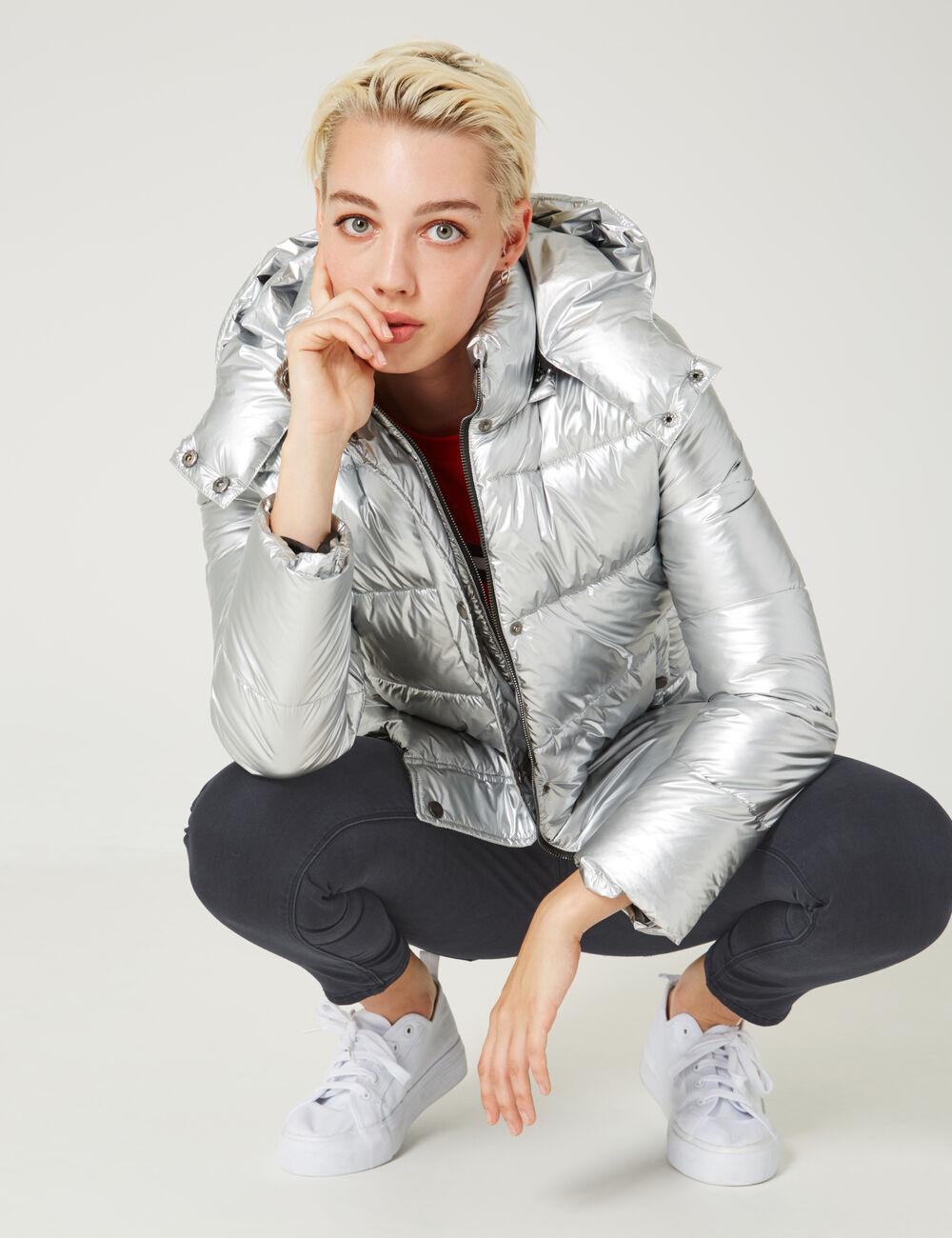 Silver Padded Jacket Woman Jennyfer
