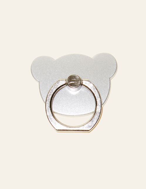 Silver smartphone finger ring holder