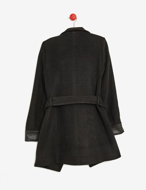 manteau détail simili cuir noir