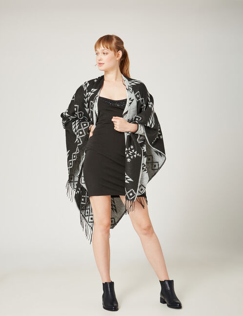 Black and cream ethnic-patterned poncho