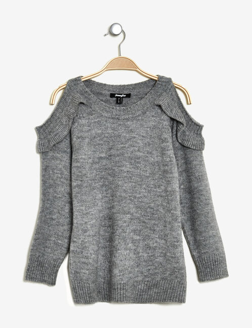 Grey marl jumper with cut-out shoulders