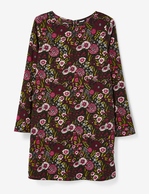 Khaki and pink A-line dress with flared sleeves