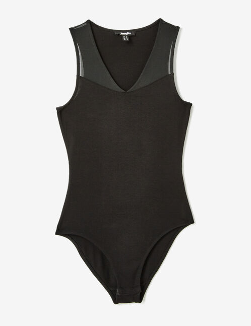 Black mixed fabric bodysuit