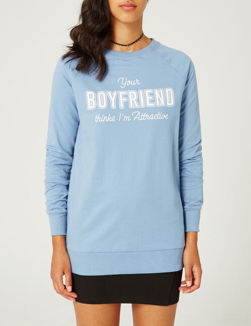 Long blue sweatshirt with text design detail