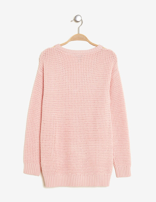 Pink jumper with cut-outs at neck