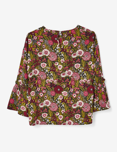 Khaki and pink floral print blouse